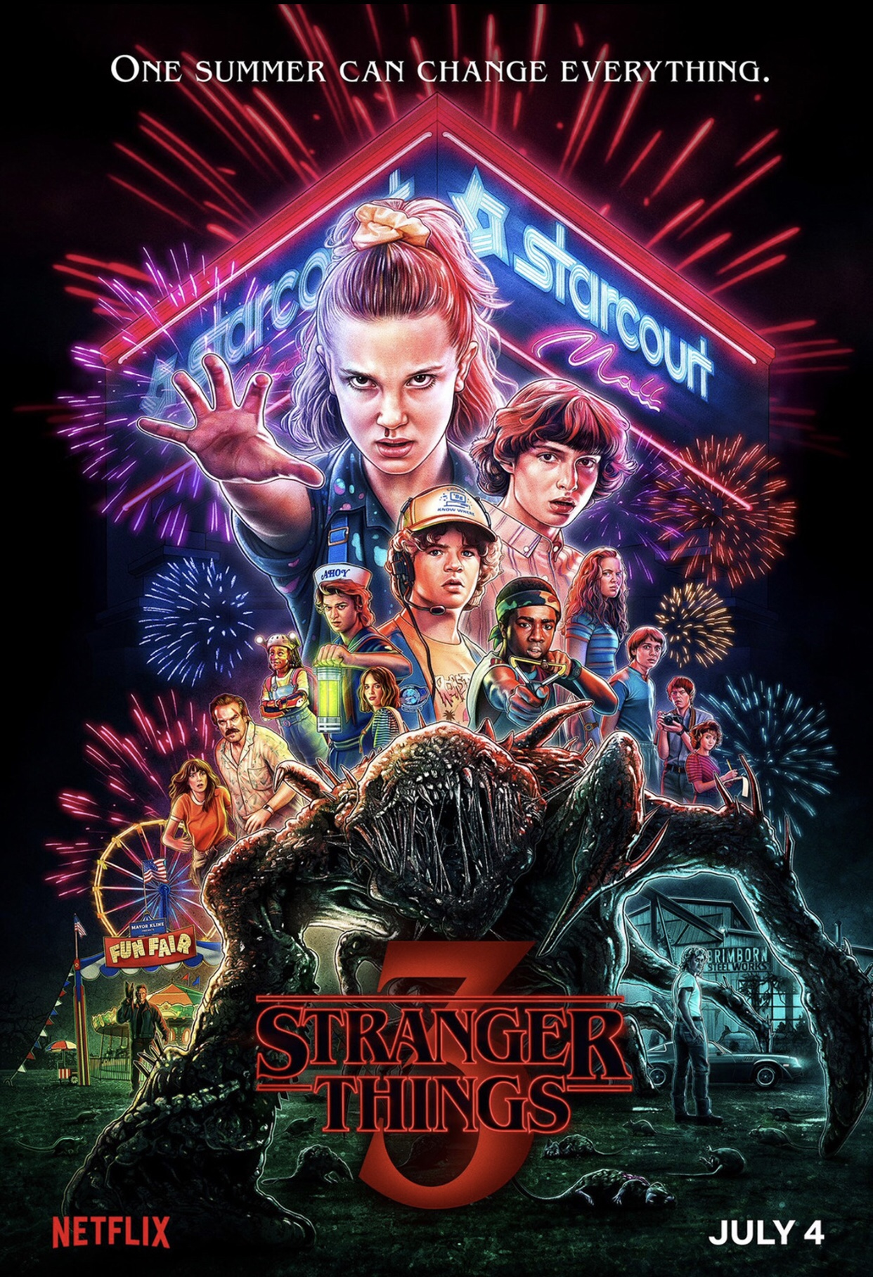 Stranger Things Season 3 Poster by Kyle Lambert