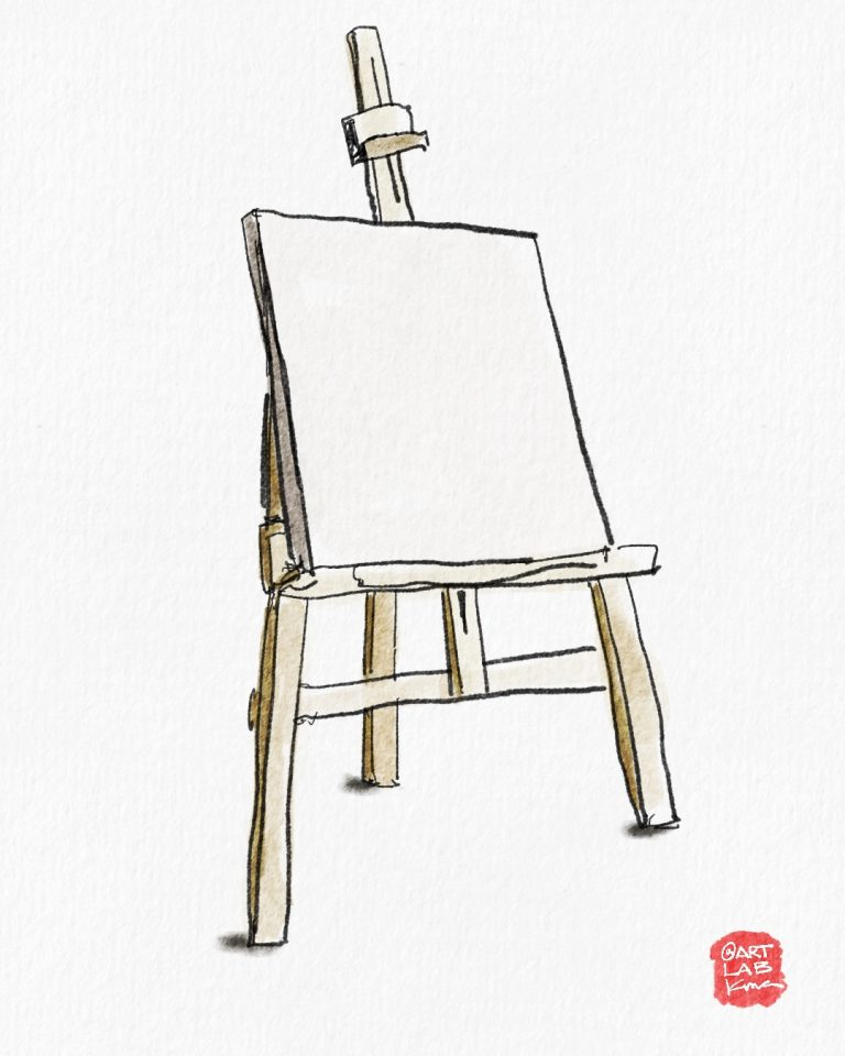 A watercolor illustration of a blank canvas by Kris Avilla